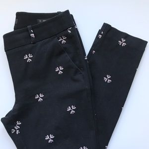 LOFT Marisa Skinny Black Pants with Flower Print
